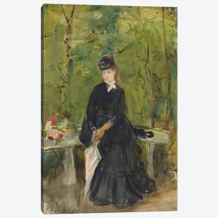 The Artist's Sister Edma Seated In A Park, 1864 Canvas Print #BMN7372} by Berthe Morisot Canvas Wall Art