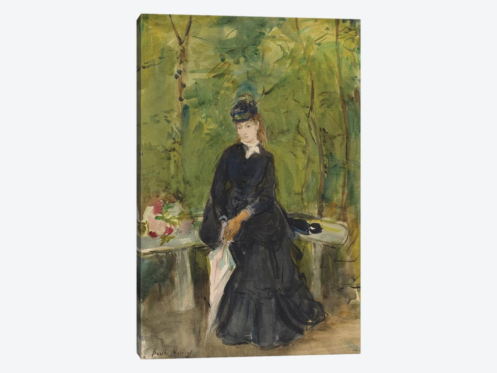 The Artist's Sister Edma Seated In A Park, 1864 by Berthe Morisot 1-piece Canvas Art