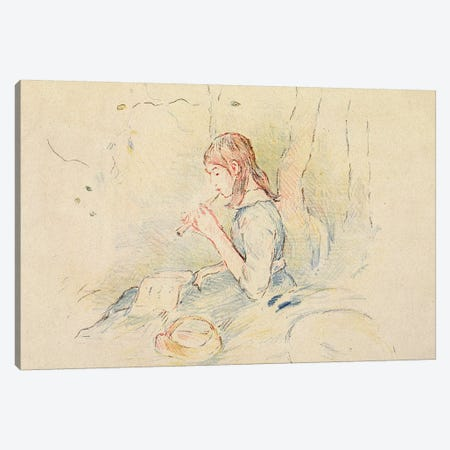 The Flageolet Player, 1890 3-Piece Canvas #BMN7377} by Berthe Morisot Art Print