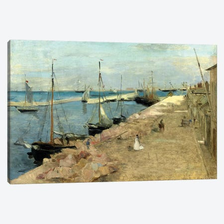 The Harbour At Cherbourg, 1871 Canvas Print #BMN7379} by Berthe Morisot Canvas Wall Art