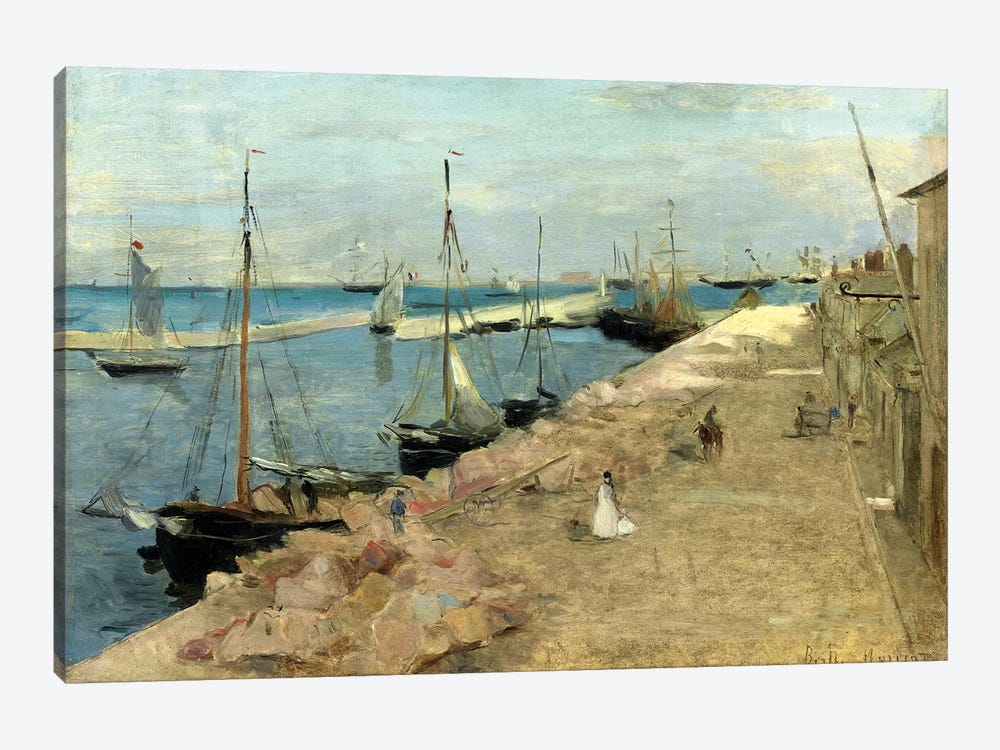 The Harbour At Cherbourg, 1871 by Berthe Morisot 1-piece Canvas Art Print