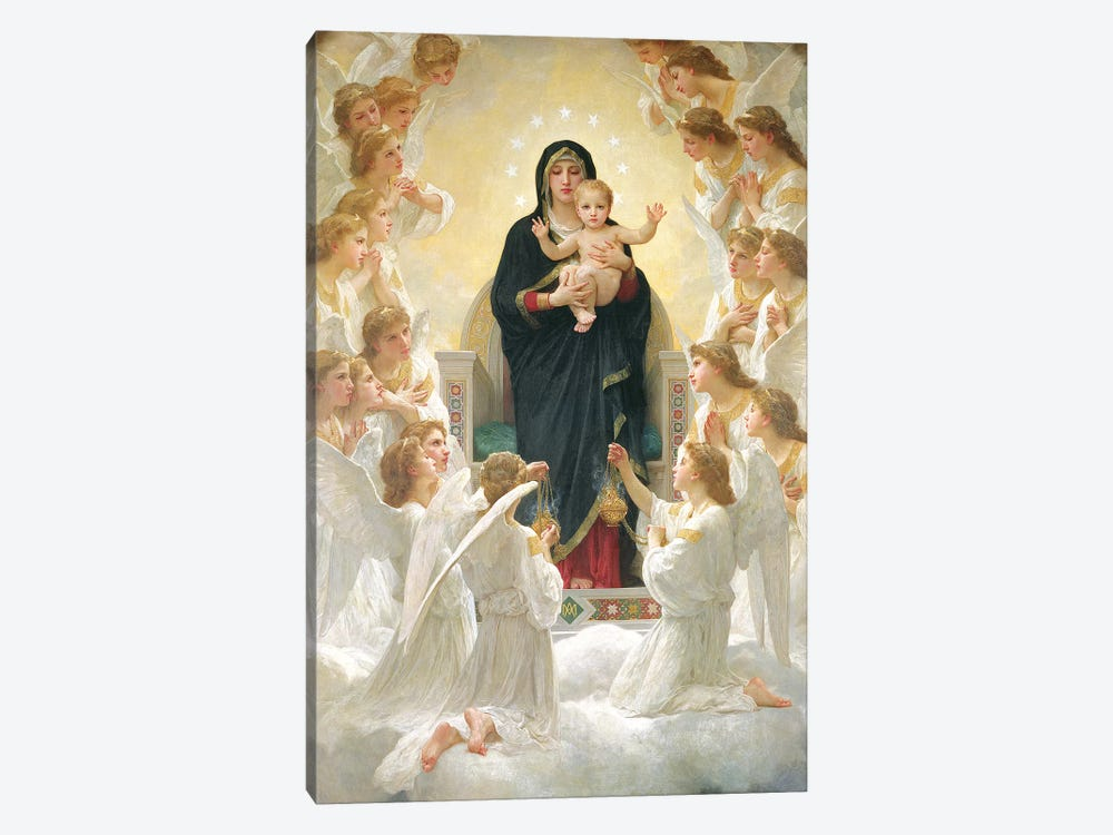 The Virgin with Angels, 1900  by William-Adolphe Bouguereau 1-piece Canvas Art