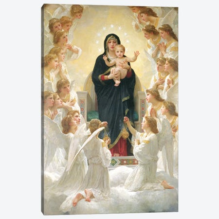 The Virgin with Angels, 1900  Canvas Print #BMN737} by William-Adolphe Bouguereau Canvas Art Print