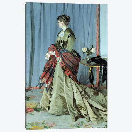 Portrait of Madame Louis Joachim Gaudibert, 1868  Canvas Print #BMN738} by Claude Monet Canvas Wall Art