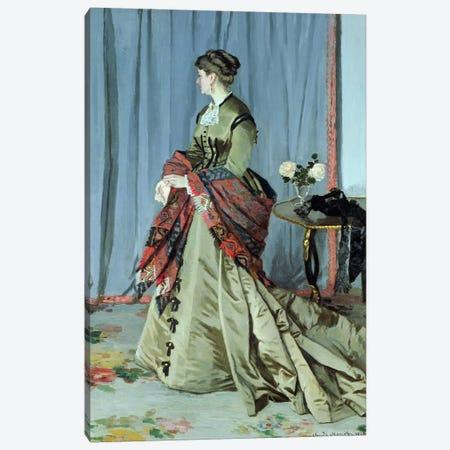 Portrait of Madame Louis Joachim Gaudibert, 1868  Canvas Print #BMN738} by Claude Monet Canvas Wall Art