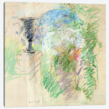 Vase In A Garden, 1890 Canvas Print #BMN7398} by Berthe Morisot Canvas Wall Art