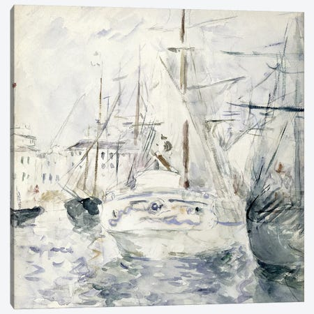 White Boat In The Port, Nice, 1881 Canvas Print #BMN7399} by Berthe Morisot Canvas Wall Art