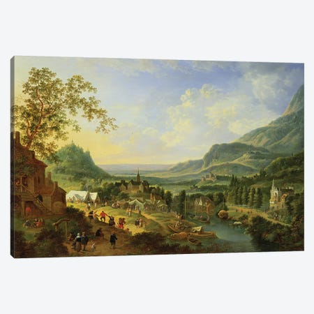 A Village Fete in the Rhine Valley  Canvas Print #BMN739} by Jan Griffier the Elder Canvas Art