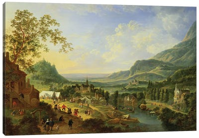 A Village Fete in the Rhine Valley  Canvas Art Print