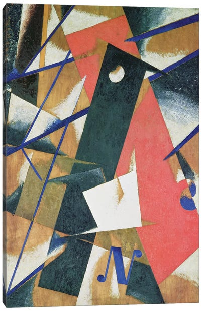Spatial Force Construction, 1921 (oil on veneer with bronze powder) Canvas Art Print