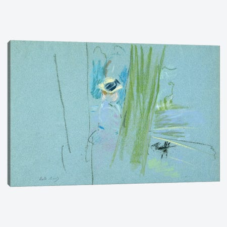 Woman Fishing At A Lake, 1885 Canvas Print #BMN7400} by Berthe Morisot Canvas Artwork