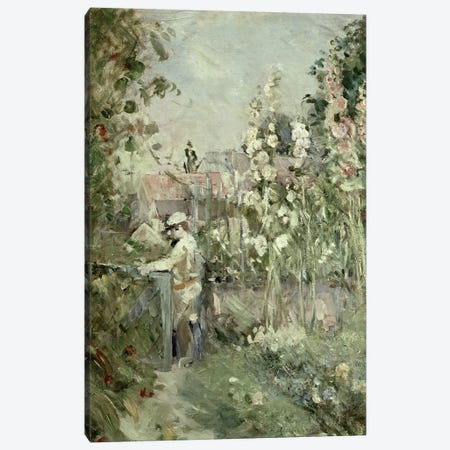 Young Boy In The Hollyhocks Canvas Print #BMN7402} by Berthe Morisot Canvas Wall Art