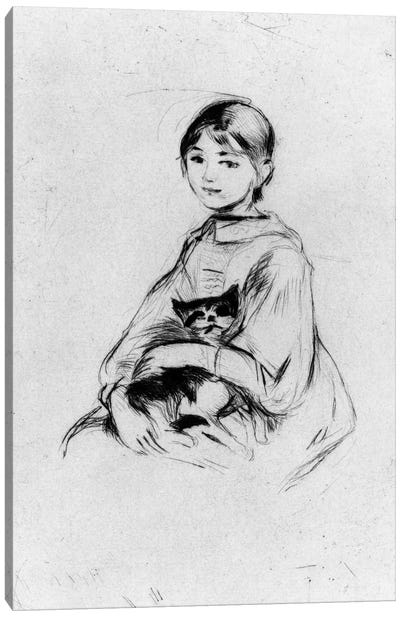 Young Girl (Julie Manet) With Cat, 1889 Canvas Art Print