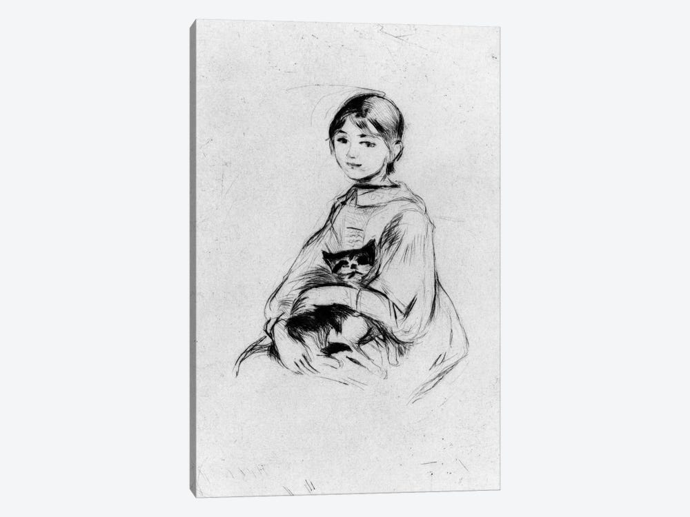 Young Girl (Julie Manet) With Cat, 1889 by Berthe Morisot 1-piece Canvas Print