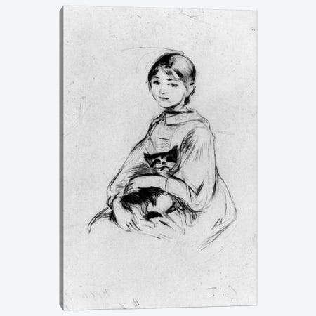 Young Girl (Julie Manet) With Cat, 1889 Canvas Print #BMN7403} by Berthe Morisot Canvas Artwork
