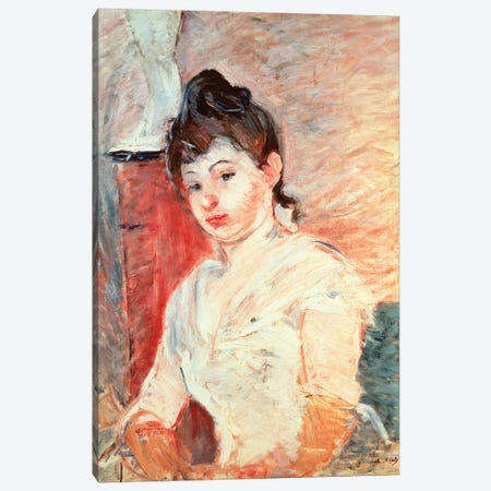 Young Girl In White Canvas Print #BMN7406} by Berthe Morisot Canvas Print