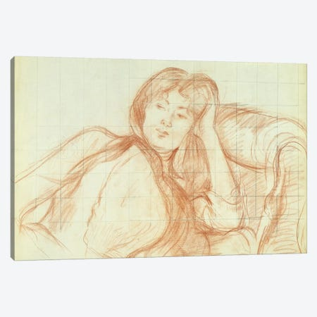 Young Girl Leaning On Her Elbow, 1887 3-Piece Canvas #BMN7407} by Berthe Morisot Canvas Print