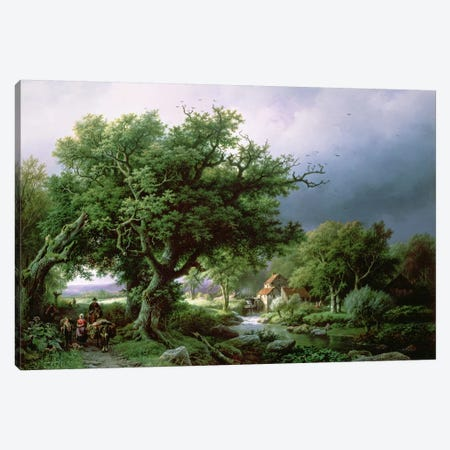 Landscape with a Mill Canvas Print #BMN740} by Barend Cornelis Koekkoek Art Print