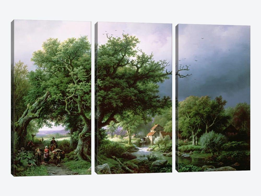 Landscape with a Mill by Barend Cornelis Koekkoek 3-piece Canvas Artwork