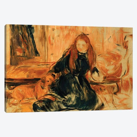 Young Girl Playing With A Dog Canvas Print #BMN7410} by Berthe Morisot Art Print