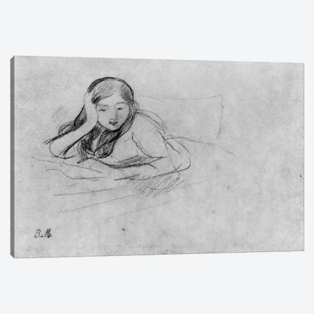 Young Girl Reading, 1889 3-Piece Canvas #BMN7411} by Berthe Morisot Canvas Print