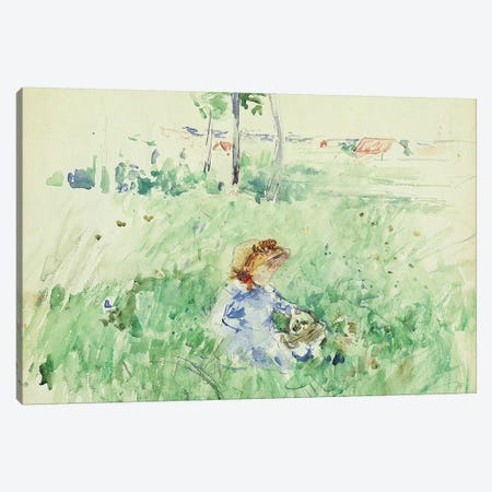 Young Girl Seated On The Lawn, 1882 Canvas Print #BMN7412} by Berthe Morisot Canvas Art Print