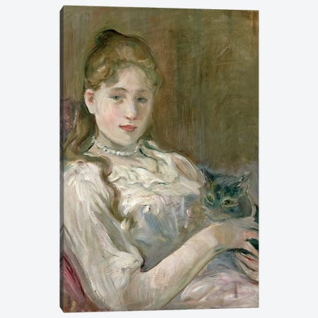 Young Girl With A Cat, 1892 Canvas Print #BMN7414} by Berthe Morisot Canvas Wall Art