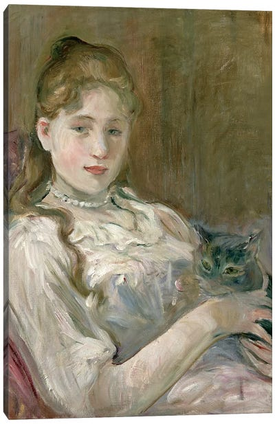 Young Girl With A Cat, 1892 Canvas Art Print