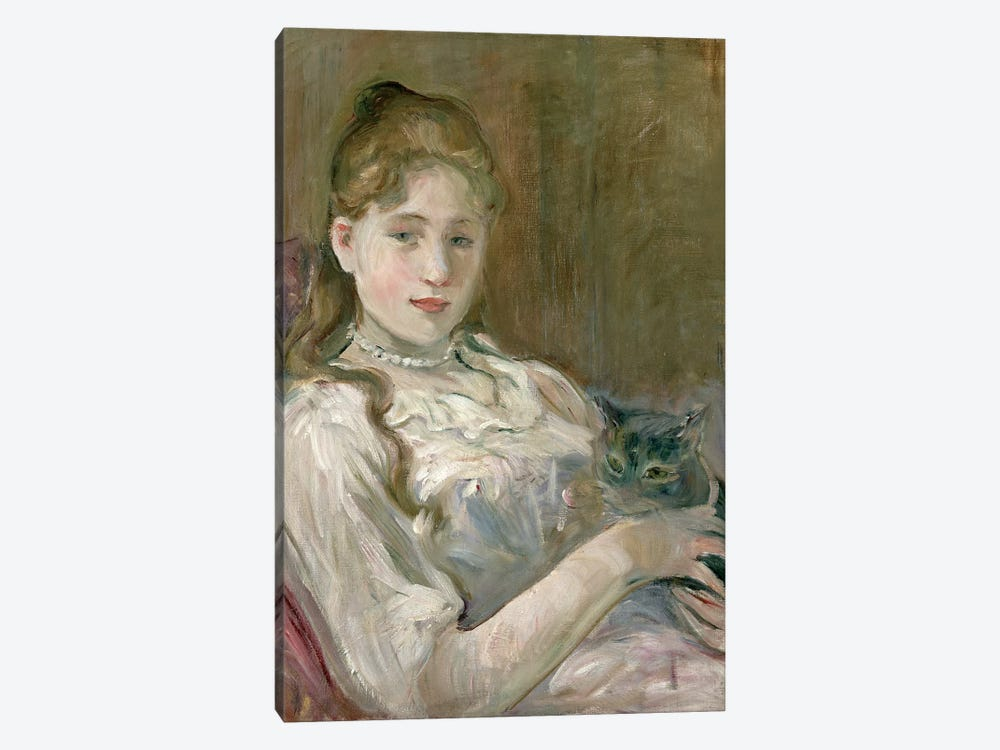 Young Girl With A Cat, 1892 by Berthe Morisot 1-piece Canvas Print