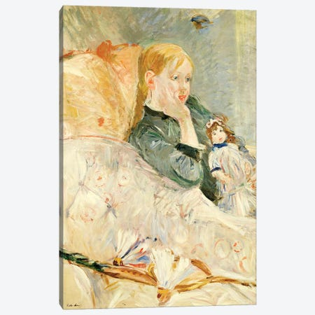 Young Girl With A Doll, 1896 Canvas Print #BMN7415} by Berthe Morisot Canvas Artwork