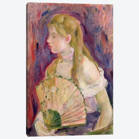 Young Girl With A Fan, 1893 Canvas Print #BMN7416} by Berthe Morisot Canvas Wall Art