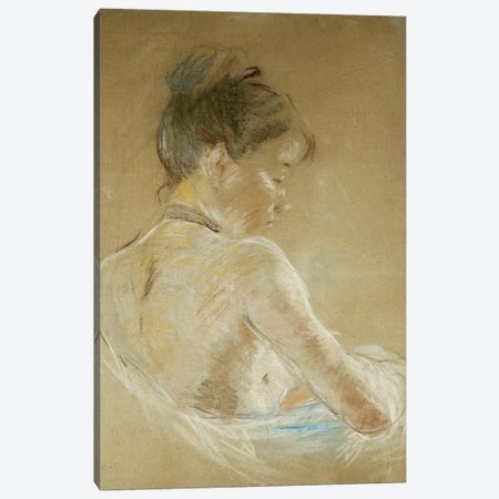 Young Girl With Naked Shoulders (Jeune Fille Aux Epaules Nues), 1885 3-Piece Canvas #BMN7418} by Berthe Morisot Art Print