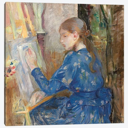 Young Girl Writing (Jeune Fille Ecrivant), 1891 Canvas Print #BMN7419} by Berthe Morisot Art Print
