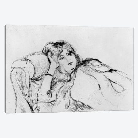 Young Woman At Rest, 1889 3-Piece Canvas #BMN7422} by Berthe Morisot Canvas Art