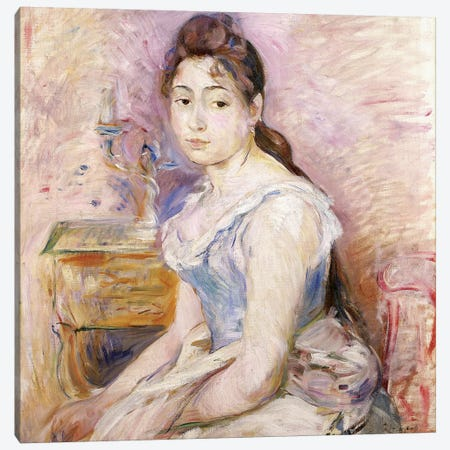 Young Woman In A Blue Corset (Jeune Fille au Corset Bleu), 1891 Canvas Print #BMN7423} by Berthe Morisot Canvas Wall Art
