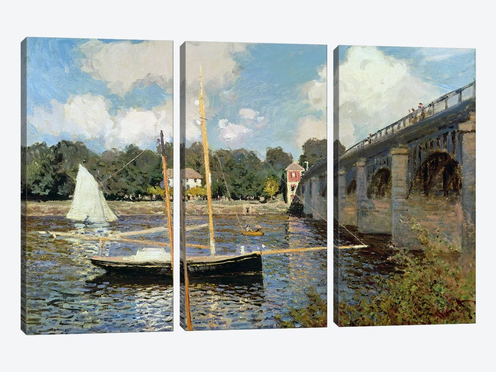 The Seine at Argenteuil  by Claude Monet 3-piece Canvas Wall Art