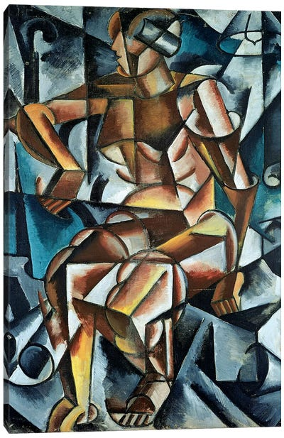 Seated Figure, 1914-15 Canvas Art Print