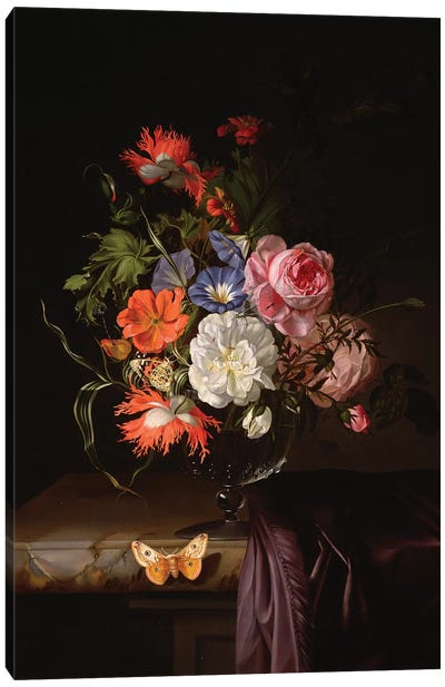 A Still Life Of Flowers In A Vase On A Ledge Canvas Art Print
