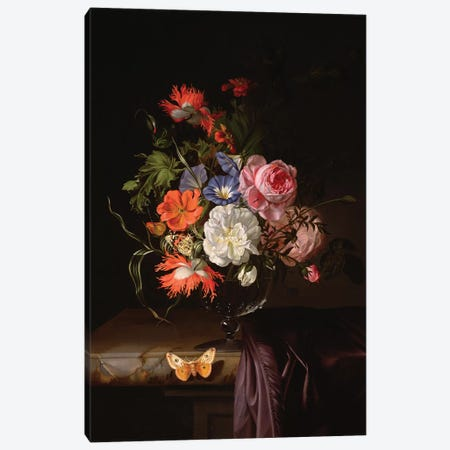 A Still Life Of Flowers In A Vase On A Ledge Canvas Print #BMN7445} by Rachel Ruysch Canvas Print