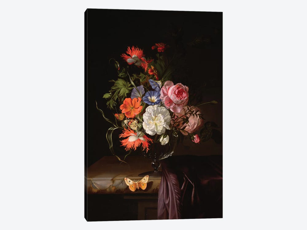 A Still Life Of Flowers In A Vase On A Ledge by Rachel Ruysch 1-piece Canvas Art Print