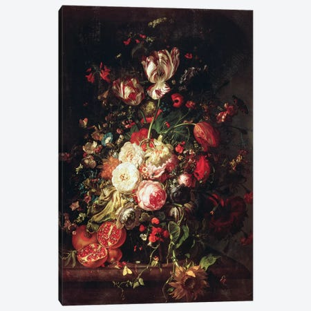 Flowers And Fruit Canvas Print #BMN7447} by Rachel Ruysch Art Print