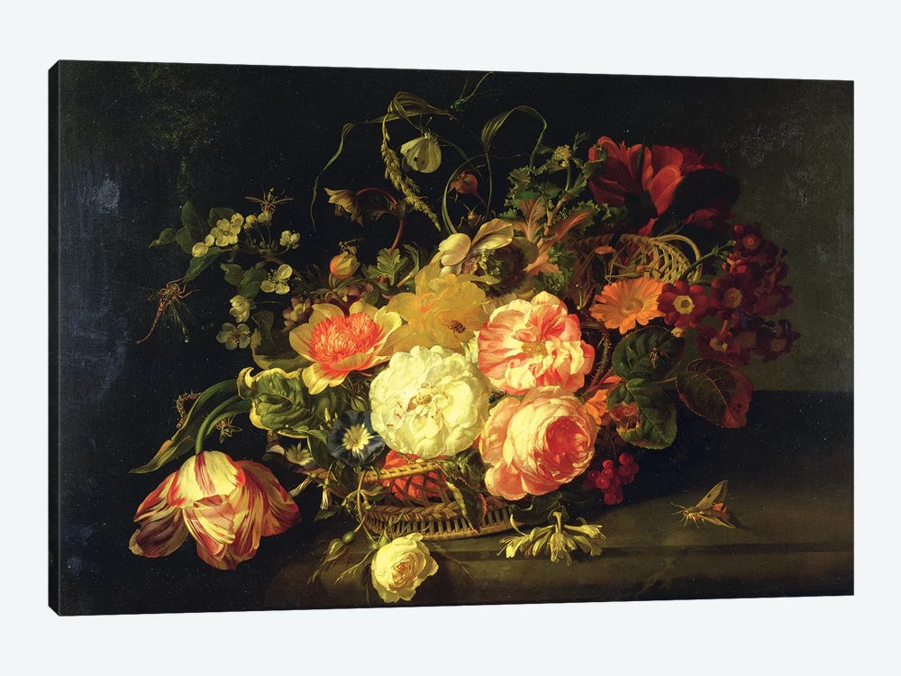 Flowers And Insects, 1711 by Rachel Ruysch 1-piece Canvas Wall Art