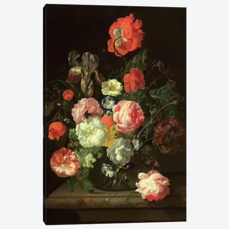 Flowers In A Glass Vase Canvas Print #BMN7449} by Rachel Ruysch Canvas Art