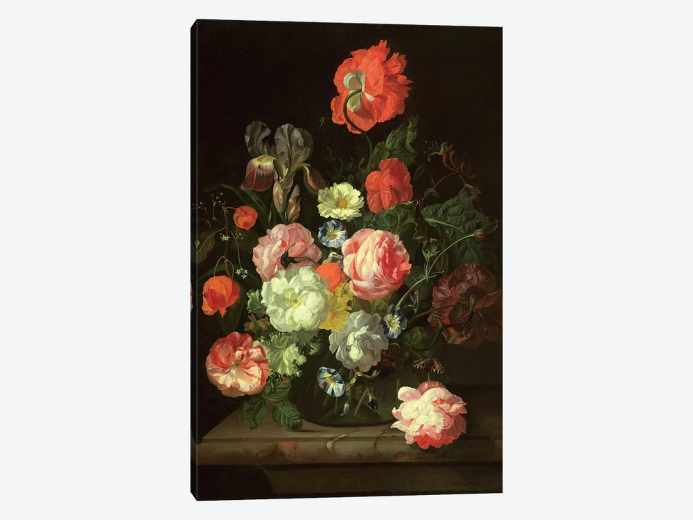 Flowers In A Glass Vase by Rachel Ruysch 1-piece Canvas Print