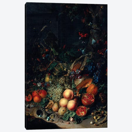 Peaches, Grapes, Pomegranates, Melons, A Corncob, Apricots, Plums, Pears And Acorns, 1718 Canvas Print #BMN7451} by Rachel Ruysch Canvas Print