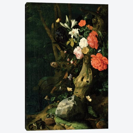 Still Life With Flowers On Woodland Ground, c.1690 Canvas Print #BMN7453} by Rachel Ruysch Art Print