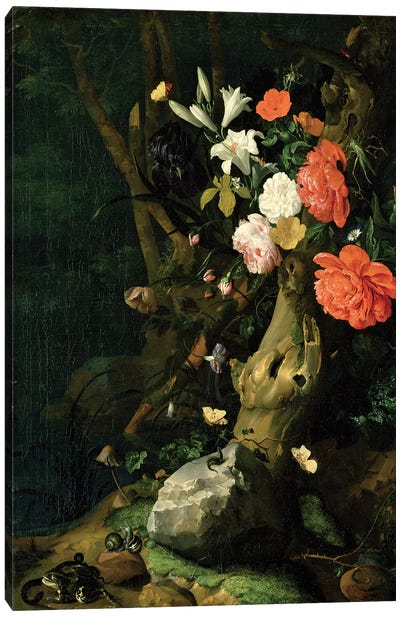 Still Life With Flowers On Woodland Ground, c.1690 Canvas Art Print