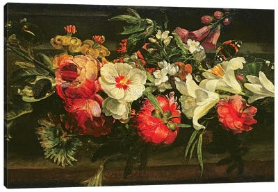 Still Life With Roses, Lilies And Other Flowers Canvas Art Print