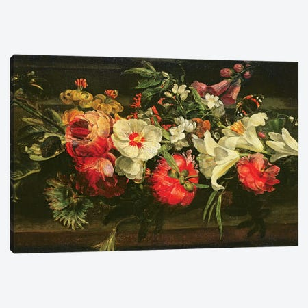 Still Life With Roses, Lilies And Other Flowers Canvas Print #BMN7455} by Rachel Ruysch Canvas Artwork