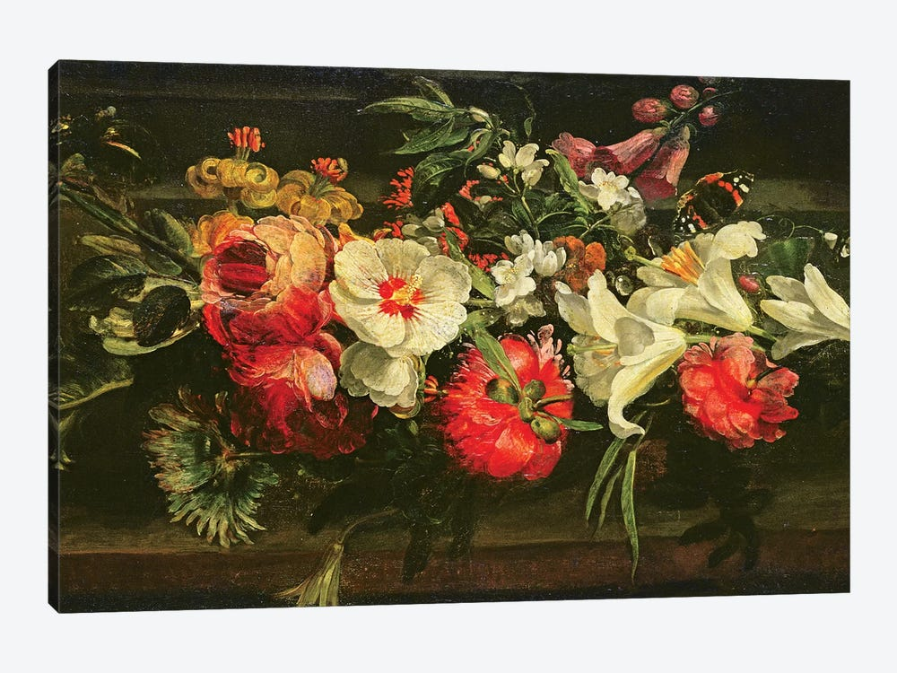 Still Life With Roses, Lilies And Other Flowers by Rachel Ruysch 1-piece Canvas Art